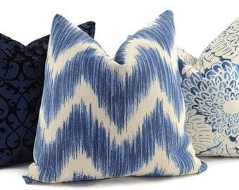 Blue & Off White Ikat Chevron Throw Pillow Cover, Ikat pillow cover, 20x20 Throw Pillow Cover, Accent Pillow Cover, Navy Chevron