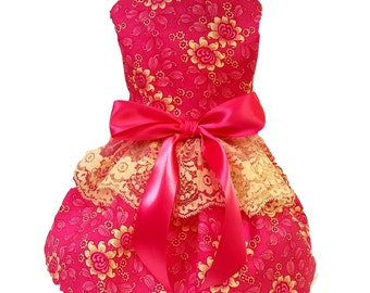 Dog Dress,  Dog Clothing, Dog Wedding Dress, Pet Clothing, Pet Dress, Dog Attire, Hot Pink Roses