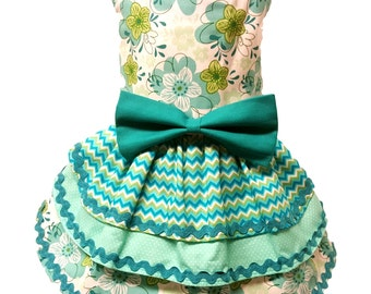 Dog Dress, Aqua and Green Fabric with Triple Layered Skirt