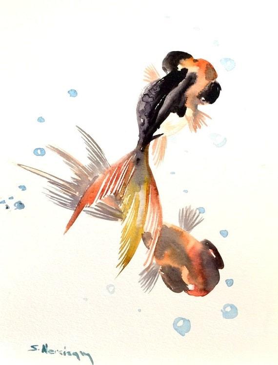 Two goldfish painting black and orange goldfish koi fish 12 for Orange and black koi