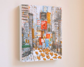 TIMES SQUARE PRINT, New York Taxi, Manhattan Watercolor, City Wall Art, Nyc Canvas Print, Mixed Media Painting, Clare Caulfield, Starbucks
