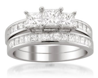 Platinum Princess-cut 3-Stone Three-Stone Diamond Bridal Wedding Set Ring (2 cttw, H-I, I1-I2)