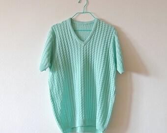 Vintage V-Neck Short Sleeve Cable Knit Sweater