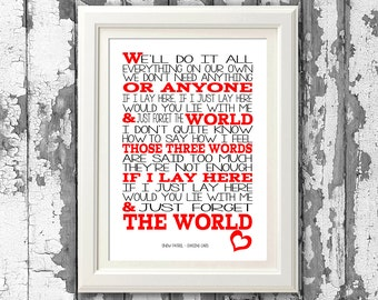 Snow Patrol - Chasing cars - 8x10 picture mount & Print Typography song music lyrics for self framing