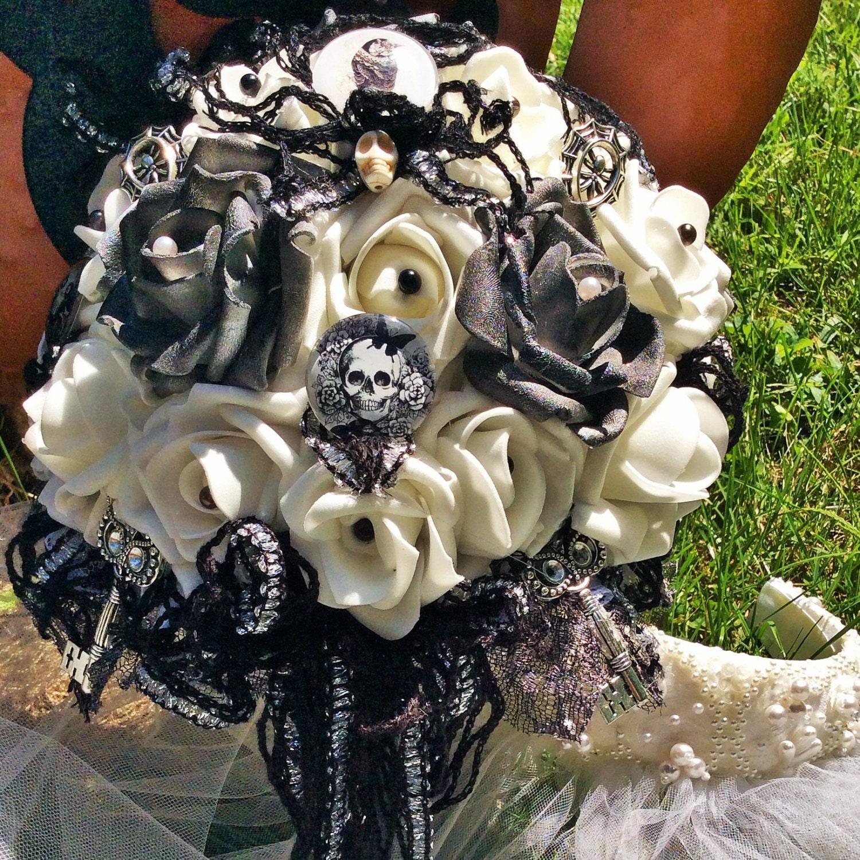 Skull wedding bouquet gothic wedding bridal for Sugar skull wedding dress