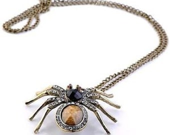 Glam Vintage Inspired Handmade -Spider Necklace