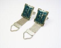 Cufflinks / silver tone Mesh Wrap / Greek Mythology / Centaur and Nymph / Men Wedding Jewelry / Groom Best Man / Formal Wear / Cuff Links
