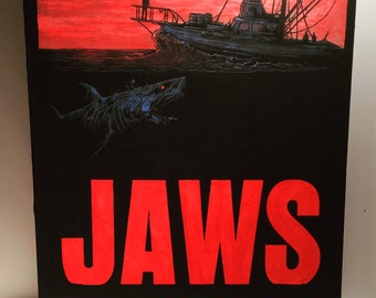 Hand Painted  JAWS Acrylic Painting on Stretched Canvas
