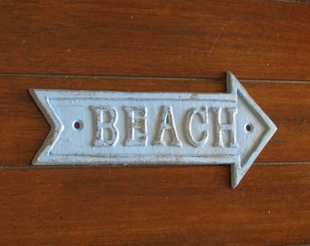 Beach Wall Plaque / Spa Blue or Pick Your Color /Shabby Chic Beach Decor / Cast Iron Sign /Nautical Coastal Home / Beach Cottage Style
