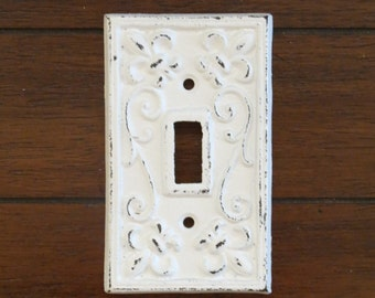 Light Switch Plate / Light Plate Cover / Cast Iron Switchplate / Antique White or Pick Color/ Fleur de lis Pattern/ French Country Cottage