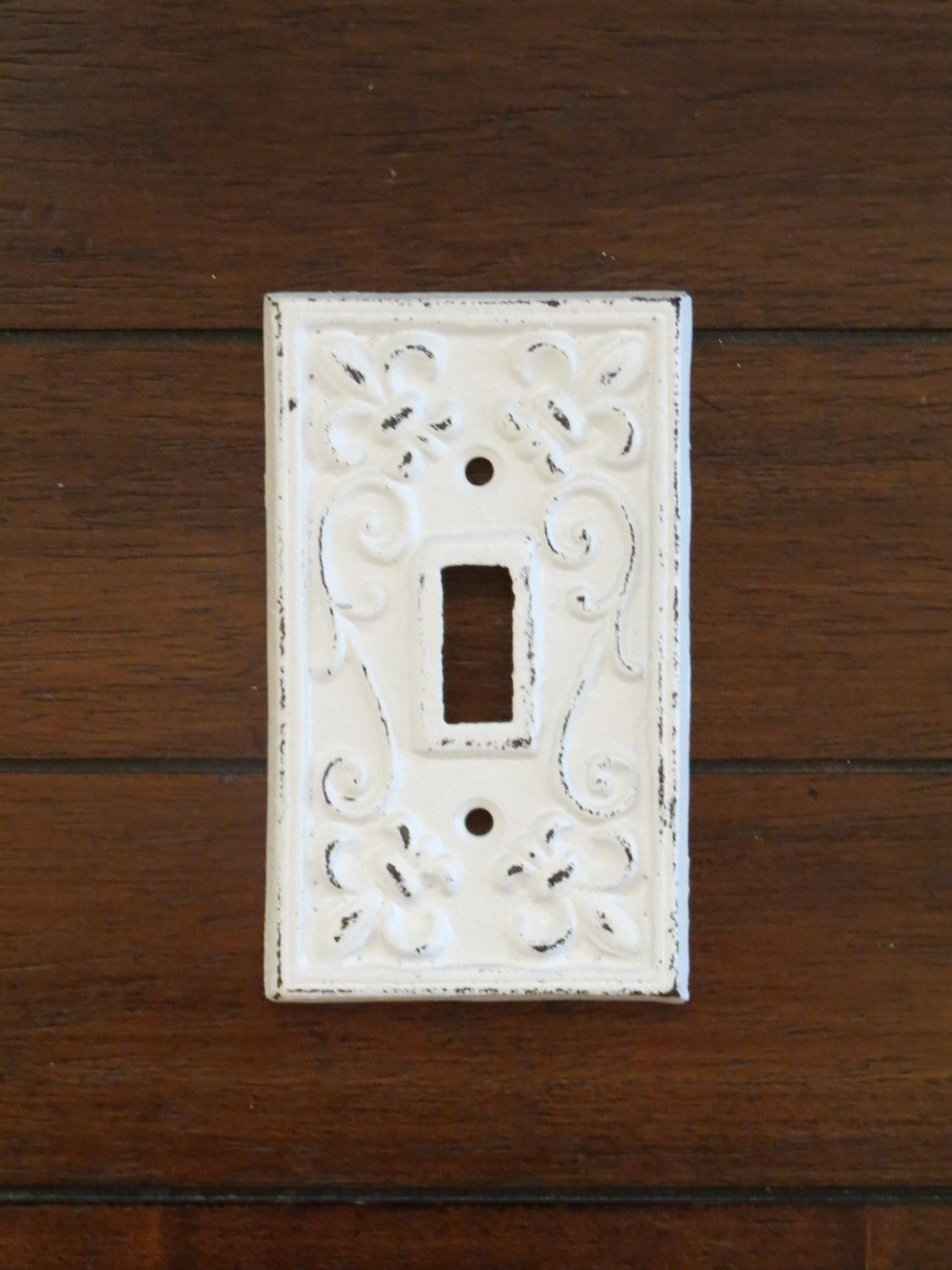 Light switch plate covers decorative - Light Switch Plate Light Plate Cover Cast Iron Switchplate Antique White Or Pick Color Fleur De Lis Pattern French Country Cottage