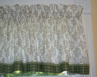 Jasmine Tea In The Beginning Cream Sage Brown Floral Toile Valance 17 x 59 Curtain