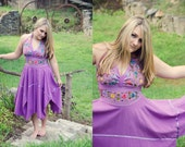 Vintage, 1970's, Embroidered, Halter Top, Purple, Floral, Dress / Large // Extra Large // Stretchy