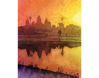 Watercolor painting of sunrise at Khmer ruins of Angkor Wat- Siem Reap, Cambodia.  Angkor Wat painting.  Watercolor Angkor Wat.  Angkor art