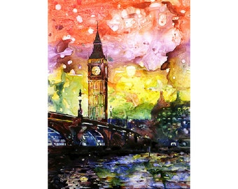 Painting of Big Ben silhouetted in city of London, England.  Big Ben painting.  Big Ben watercolor.  London art print watercolor landscape