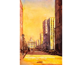 Painting of Capital and downtown buildings of Fayetteville St. in Raleigh, NC at sunset.  Raleigh art Raleigh painting landscape watercolor