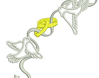 doves with wedding rings and ribbon - Machine Embroidery Design - three sizes