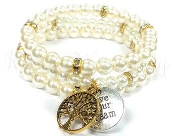 Beaded Bracelet Set, Inspirational Bracelet, Women's Bracelet, Pearl Bracelet, Beaded Jewelry, Women's Jewelry, Bridesmaid Gift