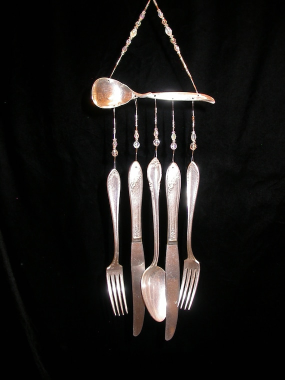 Wind chimes silver plate sugar spoon with silverware vintage for Wind chimes out of silverware