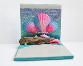 Candle Holder // Ocean //  Seashell Art // Beach Decor // Mermaid Shrine // Incense Burner // Driftwood // Tealight Holder // Ocean Art