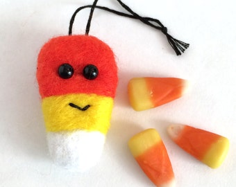 Cute Halloween Candy Corn Ornament: needle felted decoration