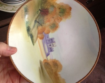 Vintage Hand painted Morimura Noritake handled bowl - Nippon Castle Compote