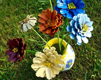 Handmade Zinnia Flowers Made From Repurposed Pinecones and Wood