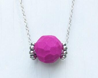 Fuchsia Statement Necklace - clay necklace - clay jewelry - polymer clay jewelry - polymer clay beads - geometric jewelry - geometric beads