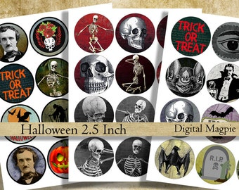 Halloween 2.5 inch circles digital collage sheet printable instant download cupcake topper magnet sticker  trick or treat images