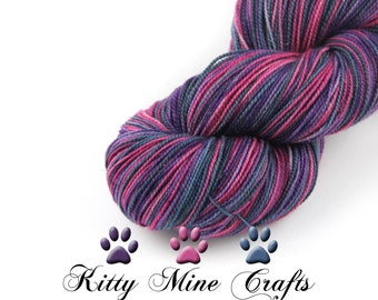 Merino, Nylon & Stellina Yarn - 438 yards - Fingering Yarn - Truly Outrageous - Bold Fuchsia, Purple, Blue - Sock Knitting