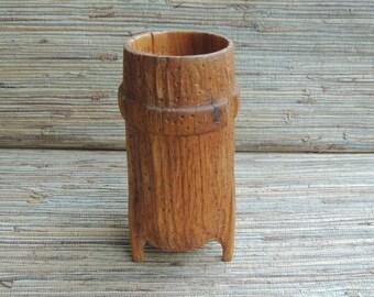 Vintage Hand Carved Wooden Folk Art Vase