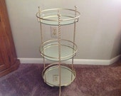 Vintage Three Tiered Metal and Mirrored Stand Plant Stand Vanity Stand Round Tiered Mirrored Stand