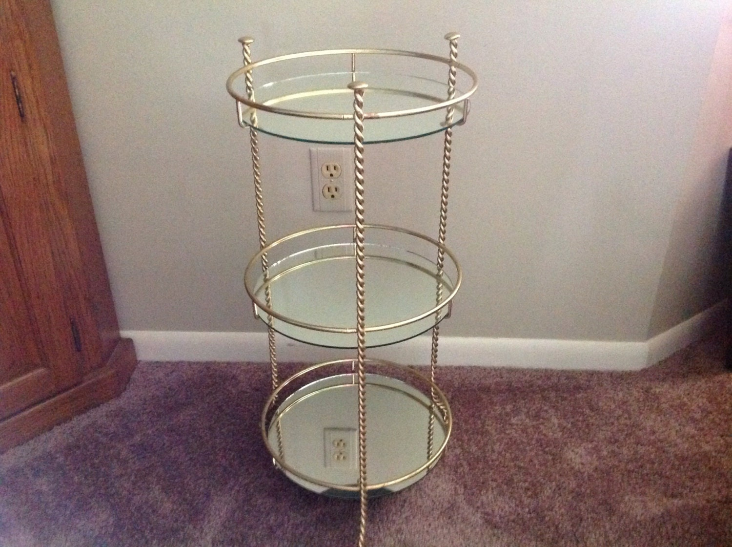 Vintage three tiered metal and mirrored stand plant stand - Tiered metal plant stand ...