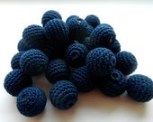 "Crochet beads 5 PCS  3/4""  20 mm Dark blue Wooden crochet cotton beads Crocheted bead Round beads Necklaces"
