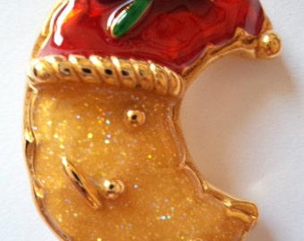 Fabulous Signed Saxon Christmas Man in the Moon Brooch/Pin