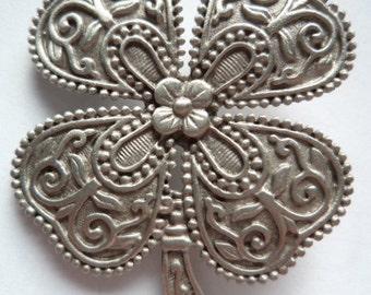 Vintage Signed JJ Silver pewter Four Leaf Clover Brooch/Pin