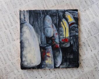 Boho, Nautical, Boat Buoys Oil Painting: Encaustic Mixed Media Art