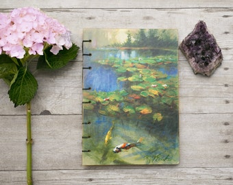 Koi fish art journal, handmade journal, unique gift for mom, paper journal, blank book, mixed media journal, handbound book, notebook, diary