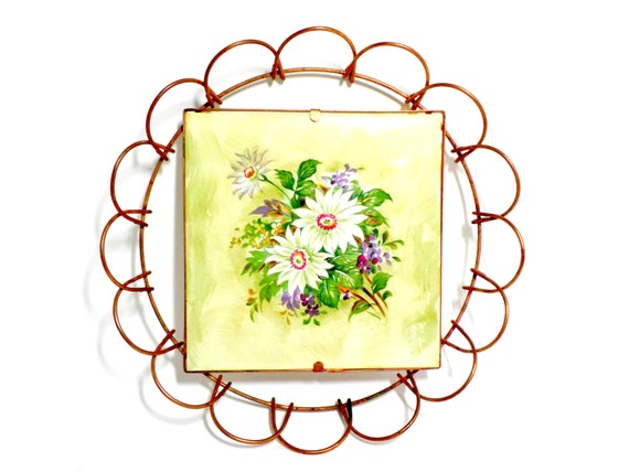 Tile Trivet, Copper Scrolled Frame, White Flower, Flowers, Yellow Green, Country, Farmhouse Cottage Chic Kitchen Decor