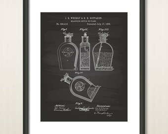 Measuring Bottle or Flask 1888 Patent Art Illustration - Drawing - Printable INSTANT DOWNLOAD - Get 5 Colors Background