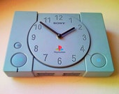 Recycled Sony PlayStation 1, PS1 retro video game console wall and table, desk clock for men - gray