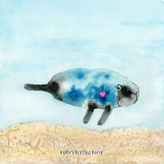 Manatee Art, Note cards, Notecards, Blank Cards, Birthday Card, Manatee, Cards, Endangered Species, Small Art, Cute Art, Sea Creatures,