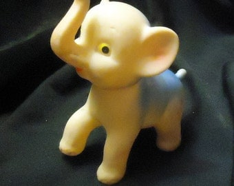 1950's Rubber Elephant Squeeze Squeak Toy Rotating Head