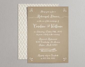 Printable Wedding Rehearsal Dinner Invitation - Woodland Rehearsal Dinner Invitation - Kraft Paper Background