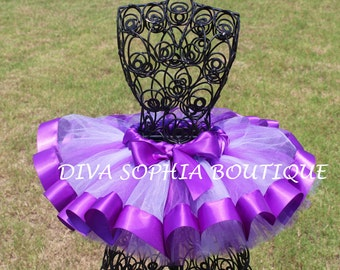 Purple Ribbon Tutu - Newborn Baby Infant Tutu - Toddler Tutu