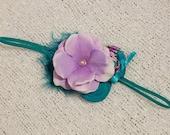 Teal Lilac Purple Headband , Double Rosettes Headband,Purple Flower Headband,Baby Flower headband