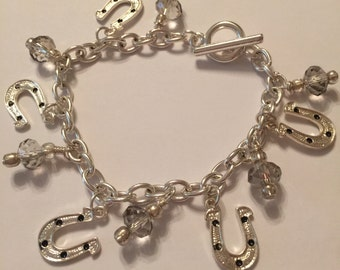 Crystal and Horseshoe 7 Inch Silver Charm Bracelet
