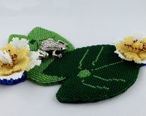 Water Lily - mural wall decoration Still life frog image in Bead Embroidery