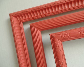 Coral Picture Frames - Set of 3 - Large Vintage Wood - Distressed Finish - Gallery Wall - Cottage Chic - Boho Chic - Wedding - Baby Nursery