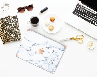 Bianco Sivec White Marble with Rose Gold Detailing Hybrid Hard Case for Apple Macbook Air & Mac Pro Retina, New Macbook 12""